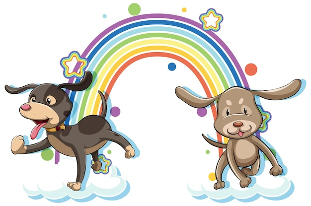 Zwei hunde-cartoon-figur mit regenbogen