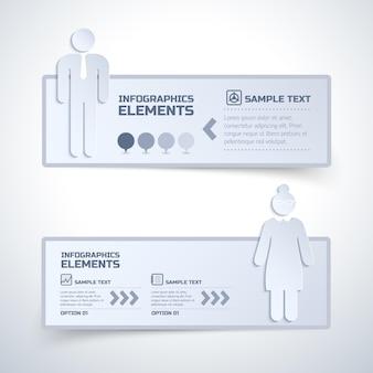 Zwei isolierte infografik-elemente mit optionen bei der arbeit frauen und männer meinungen