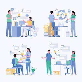 Zwei junge geschäftsleute, die brainstorming-treffen für idee und plan erstellen, um für ziel, isometrische illustration zu arbeiten