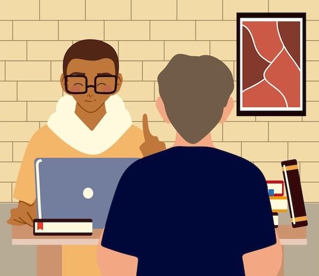 Zwei junge männer, die mit laptop in der raumillustration des raumes arbeiten