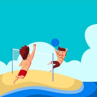 Zwei jungen, die beachvolleyball am strand spielen