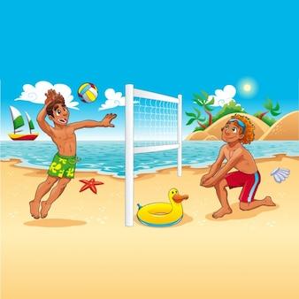 Zwei jungen spielen beach-ball