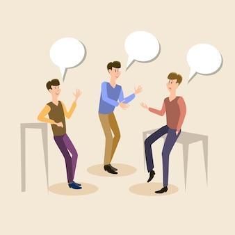 Zwei jungen-studenten, die freund-kommunikation sprechen