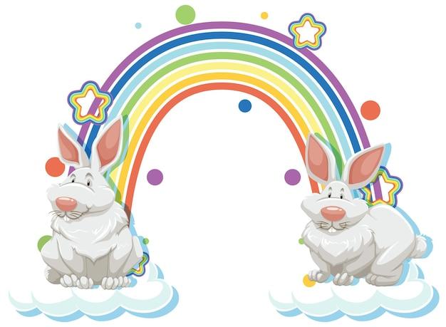 Zwei kaninchen-cartoon-figur mit regenbogen