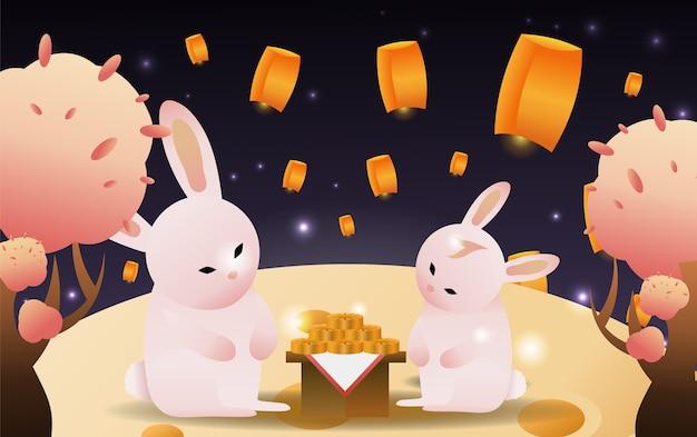 Zwei kaninchen, die mondkuchen auf der mondtapete essen