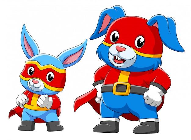 Zwei kaninchen in einem superheldenkostüm der illustration