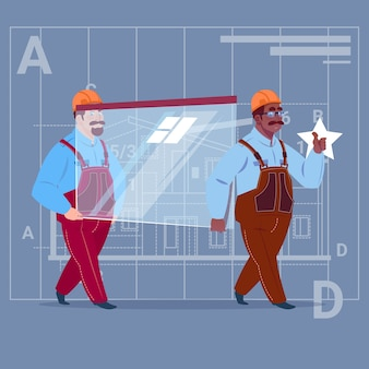Zwei karikatur-erbauer tragen glas-tragende uniform