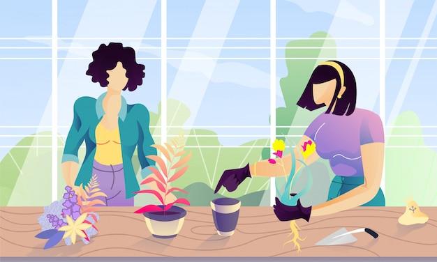 Zwei karikatur-gesichtslose frauen, die am gewächshaus pflanzen