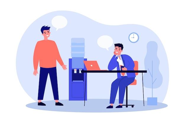 Zwei karikaturmänner, die in der flachen illustration des büros kommunizieren