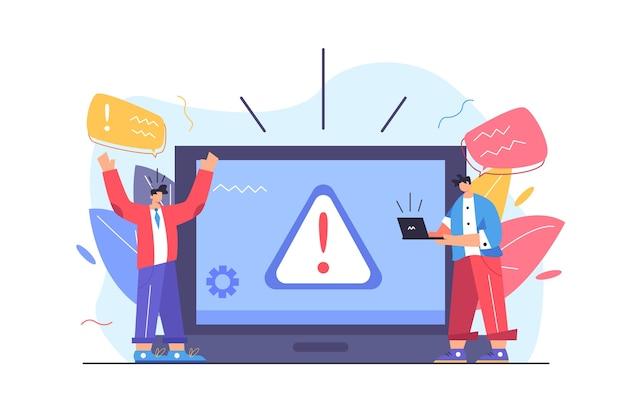 Zwei kerle kollidierten mit warndreieck-popup-zeichenzeichen auf großem laptop lokalisiert auf weißer hintergrundflachillustration