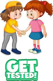 Zwei kinder-cartoon-figur hält keine soziale distanz ein, wenn die schriftart auf weißem hintergrund getestet wird