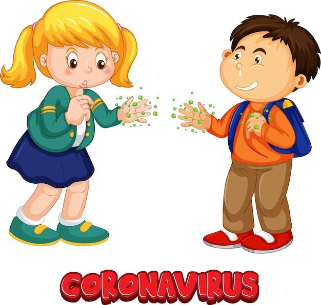 Zwei kinder-cartoon-figur hält keine soziale distanz mit coronavirus-schriftart isoliert auf weißem hintergrund