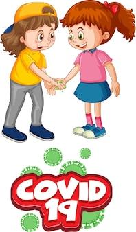Zwei kinder-cartoon-figur hält keine soziale distanz mit covid-19-schriftart isoliert auf weiß