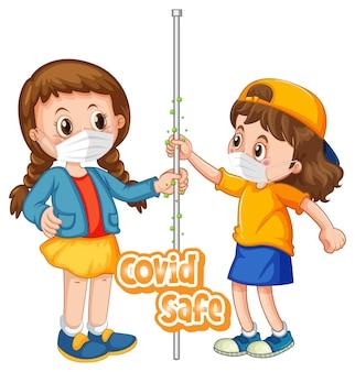 Zwei kinder-cartoon-figur hält keine soziale distanz mit covid safe-schriftart isoliert auf weißem hintergrund