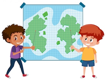 Zwei Kinder, die auf Karte zeigen