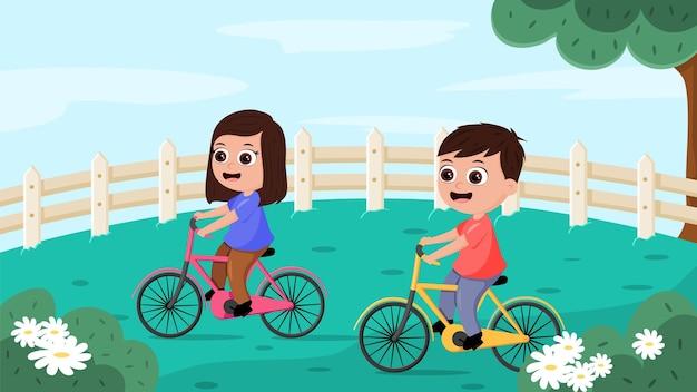 Zwei kinder, die fahrrad in einem park fahren