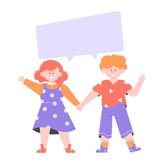 Zwei kinder stehen in der nähe. junge und mädchen halten hände. leere blase für text. flache illustration.
