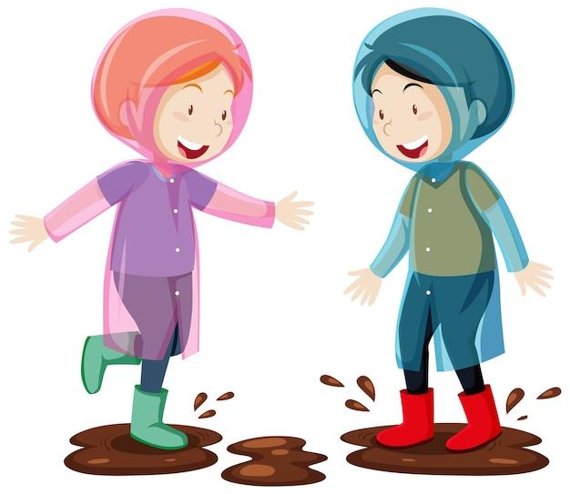 Zwei kinder tragen regenmantel, der im schlammkarikaturstil lokalisiert auf weiß springt