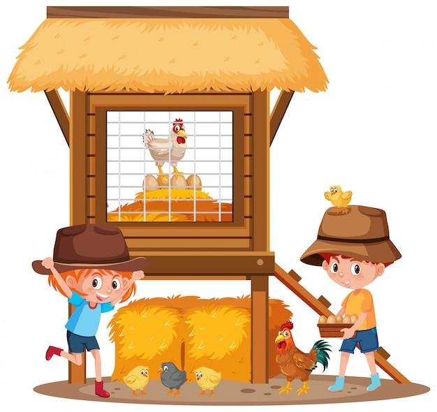 Zwei kinder und hühner auf dem bauernhof