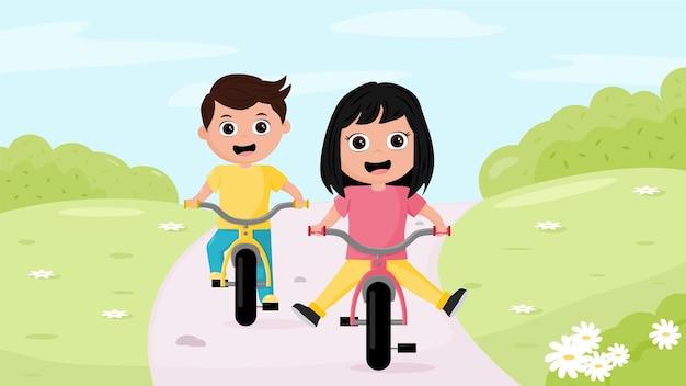 Zwei kinderjungen und -mädchen, die ein fahrrad in der natur fahren