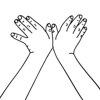 Zwei kindische hände, die zusammen eine taubenmonoline zeigen, die lineare handgezeichnete illustration zeichnet