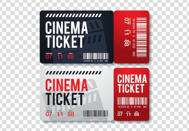 Zwei kinokarten getrennt auf transparentem hintergrund. realistische vorderansicht illustration