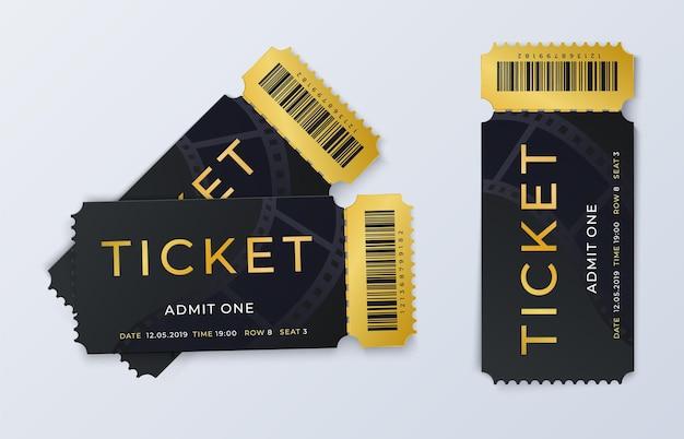 Zwei kinokarten. realistische vorlage für den eintrittspass für das kino. vektorillustrationsfestivalschwarz- und goldpaar isoliertes ticket
