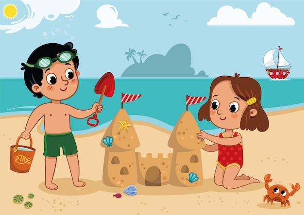 Zwei kleine kinder spielen am strand outdoor-aktivität vector illustration
