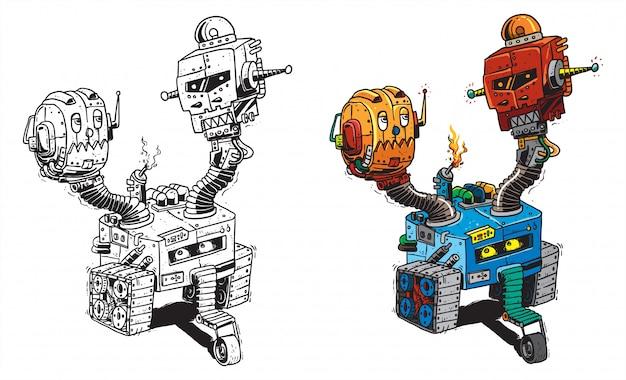 Zwei köpfige roboter kritzeln grafikillustration für aufkleber- oder bekleidungswaren