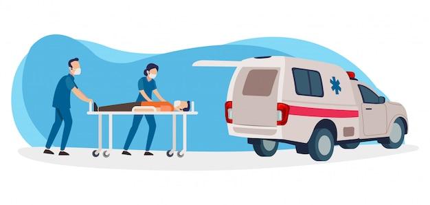 Zwei krankenschwestern werden einen patienten, der positiv für das koronavirus ist, in den krankenwagen einführen