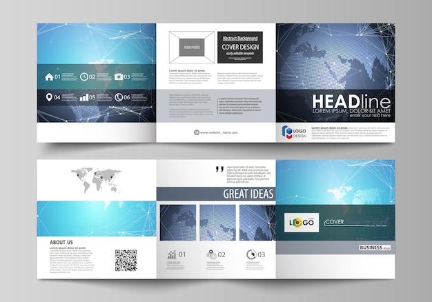 Zwei kreative cover-vorlagen für quadratische broschüre, chemie, molekülstruktur.