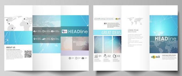 Zwei kreative dreifach gefaltete broschüren decken vorlagen ab.