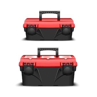 Zwei kunststoff schwarz werkzeugkasten, rote kappe. toolkit für bauunternehmer oder industriegeschäft. realistische box für werkzeuge