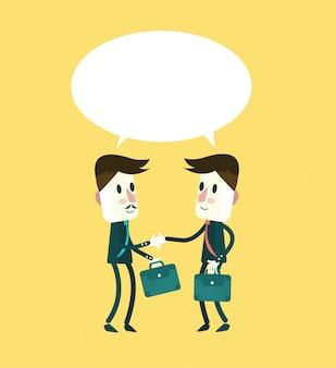 Zwei lächelnde geschäftsmann in anzügen sind handshaking und reden. flacher charakter design. vektor-illustration