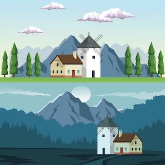 Zwei landschaften in der tageszeit und in der nacht des feldes und der berge und des hauses mit windmühle