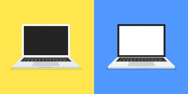 Zwei laptop mit flachem design-stil auf farbhintergrund. ansicht von oben. computermodell. vektor.