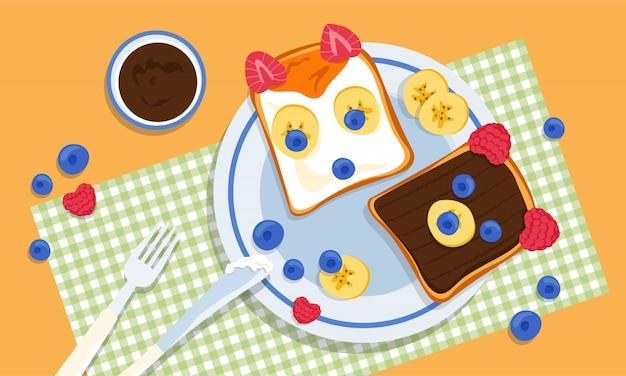 Zwei leckere fuchs- und bärenförmige toasts mit banane, himbeere, blaubeeren, erdnussbutter und honig, hergestellt von liebevollen und kreativen eltern für kinder. pingeliges essproblem. herausforderungen für eltern.