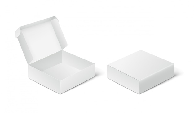 Zwei leere geschlossene und offene verpackungsboxen, boxmodell auf weißem hintergrund.