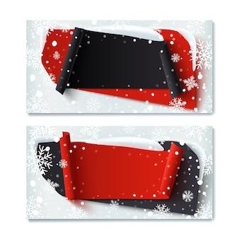 Zwei, leere, schwarze freitag, wintergeschenkgutscheinvorlagen, mit abstrakten bannern, schnee und schneeflocken.