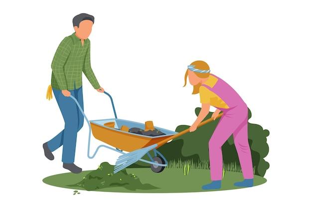Zwei leute, die mit schubkarre und rechen im frühlingsgarten arbeiten, flache zusammensetzung