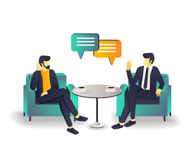 Zwei leute diskutieren auf dem sofa über unternehmensinvestitionen
