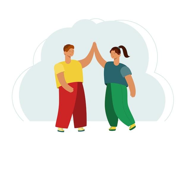 Zwei leute geben ein high-five. freundschaft, freude und unterstützung.