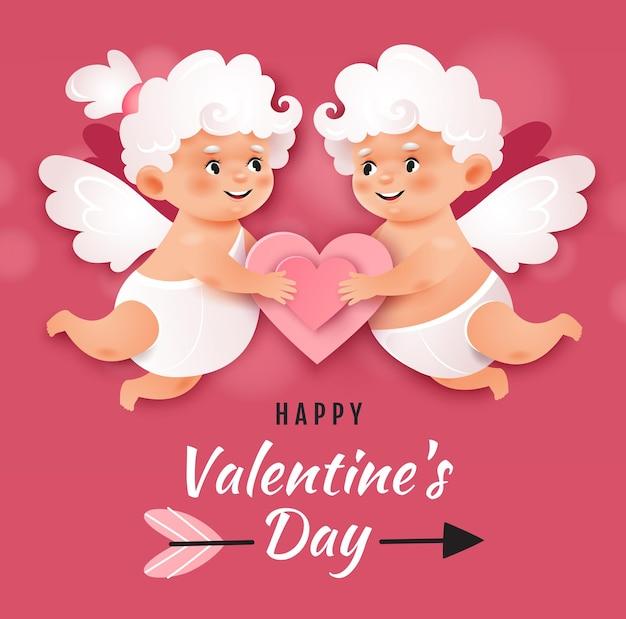 Zwei liebende amoren, die herz halten. valentinstagskarte.