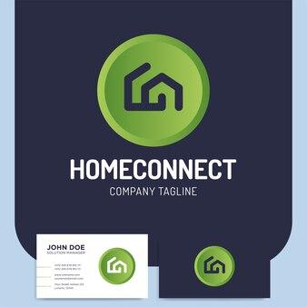 Zwei linie stil zu hause verbinden oder gebäude logo