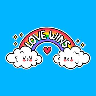 Zwei lustige süße kusswolken. liebe gewinnt slogan auf regenbogen. vektor handgezeichnete doodle cartoon illustration symbol. liebe gewinnt, homosexuell, lgby-rechte-druck für t-shirt, poster, kartenkonzept