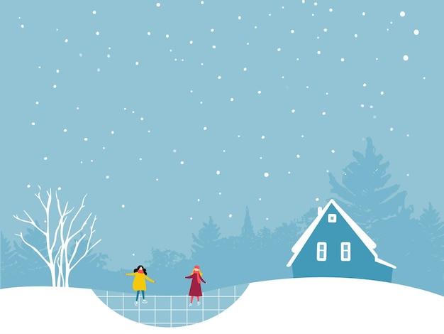 Zwei mädchen, die auf der eisbahn eislaufen. winterlandschaft flache illustration mit bäumen und kleiner hauskabine.