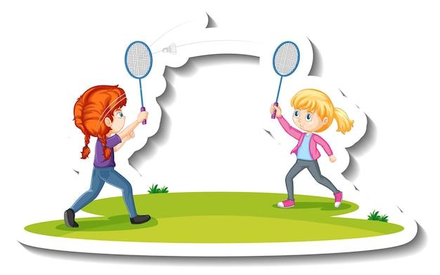 Zwei mädchen, die badminton-cartoon-charakter-aufkleber spielen