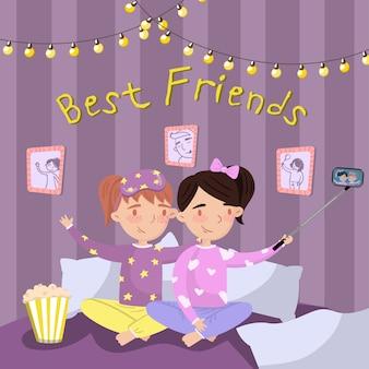 Zwei mädchen im pyjama machen selfie beim sitzen auf dem bett, kinder im pyjama bei pyjamaparty. illustration der besten freunde, karikaturstil