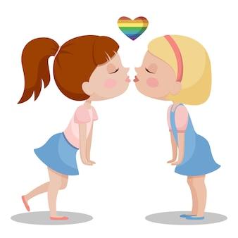 Zwei mädchen küssen sich. valentinstag. lesben, lgbt. karikatur flache zeichenillustration.
