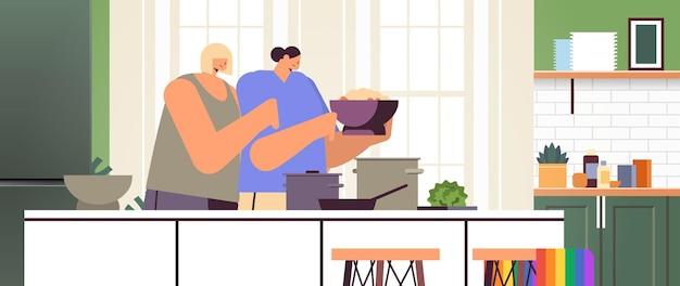 Zwei mädchen lesbisches paar, das essen in der küche zubereitet, transgender-liebe lgbt-gemeinschaftskonzept horizontale wohnzimmerinnenraumvektorillustration
